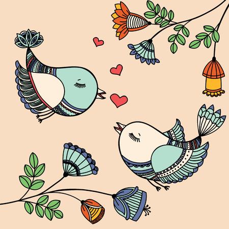 carte romantique avec des oiseaux qui volent dans l'amour. Vector illustration