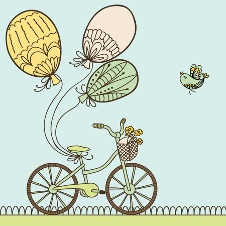 Ilustración del vector con la bicicleta, globos y lugar para el texto. Puede ser utilizado para la celebración, tarjeta de cumpleaños.