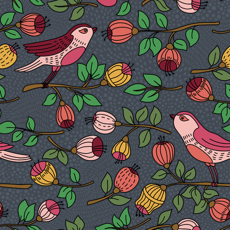 wall hanging: Vector seamless pattern with flower and birds. It can be used for desktop wallpaper or frame for a wall hanging or poster,for pattern fills, surface textures, web page backgrounds, textile and more.