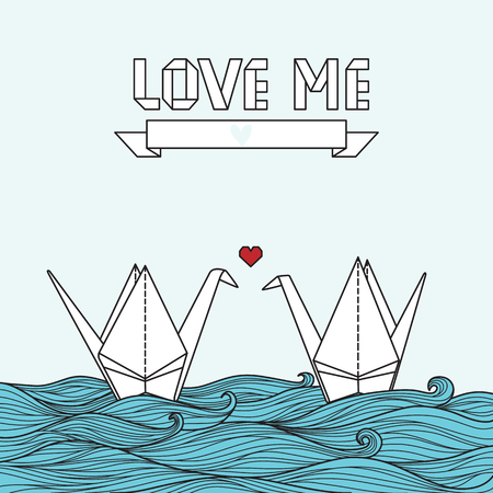 Cute card with origami crane in love. Can be used for invitation or banner Stock Illustratie