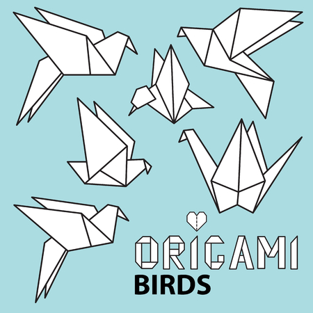 origami paper: Cute collection with origami birds. Vector set