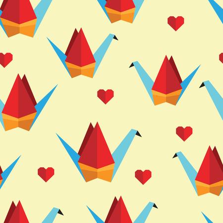 Patrón De Colores Sin Fisuras Con Los Pájaros De Origami. Puede Ser ...