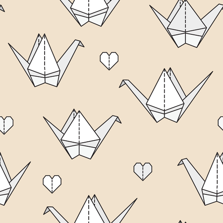 wall hanging: Seamless pattern with origami birds. Can be used for desktop wallpaper or frame for a wall hanging or poster,for pattern fills, surface textures, web page backgrounds, textile and more. Illustration