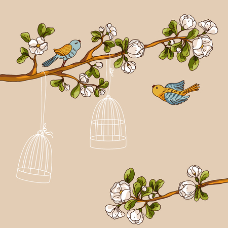 spring out: Romantic floral background. Birds out of cages. Spring birds flying on the branch