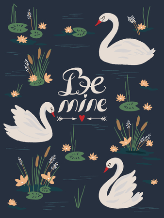 Vector background with beautiful swans on the lake. Vector illustration Stock Illustratie