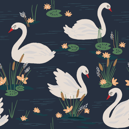 swan: Beautiful seamless pattern with swans on the lake. Vector illustration