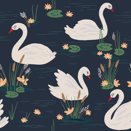 cisnes: Modelo inconsútil hermoso con los cisnes en el lago. ilustración vectorial
