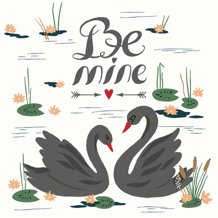 background couple: Vector background with beautiful swans on the lake. Vector illustration Illustration