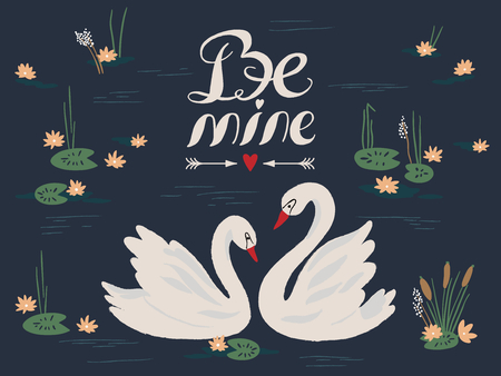 Vector background with beautiful swans on the lake. Vector illustration