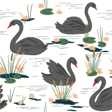 water black background: Beautiful seamless pattern with swans on the lake. Vector illustration