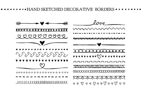 Vector vintage borders and scroll elements. Hand drawn vector design elements  イラスト・ベクター素材