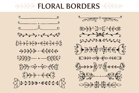 Bloemen uitstekende grenzen en scroll-elementen. Hand getrokken vector design elements
