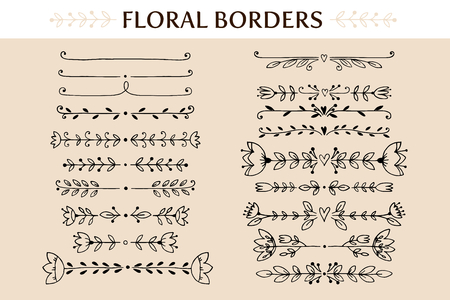 flower designs: Floral vintage borders and scroll elements. Hand drawn vector design elements