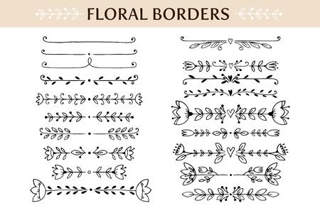 lineas decorativas: Floral fronteras de la vendimia y elementos del desfile. elementos de diseño de vectores dibujados a mano Vectores