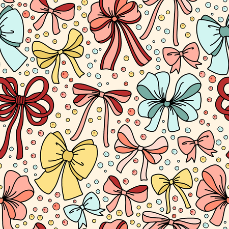 ribbon background: Cute seamless pattern with bows. Vector illustration Illustration