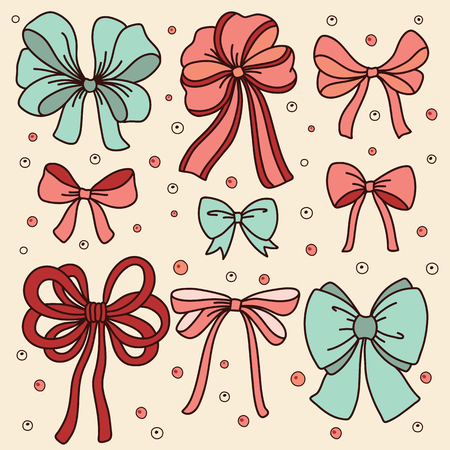 blue bow: Cute set with bows. Vector illustration