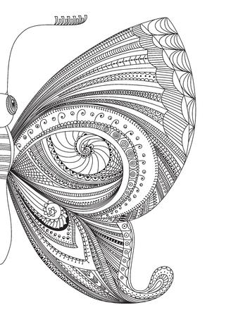 papillon dessin: Hand drawn papillon zentangle. Décoratif abstrait élément de conception de griffonnage. Vector illustration