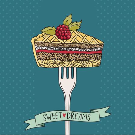 porcion de torta: Impresión de la vendimia con el pedazo de torta en un tenedor. Esta ilustración se puede utilizar como una impresión o camisetas, carteles, tarjetas de felicitación. ilustración vectorial Vectores