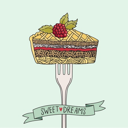 piece of cake: Vintage print with piece of cake on a fork. This illustration can be used as a print or T-shirts, posters, greeting card. Vector illustration