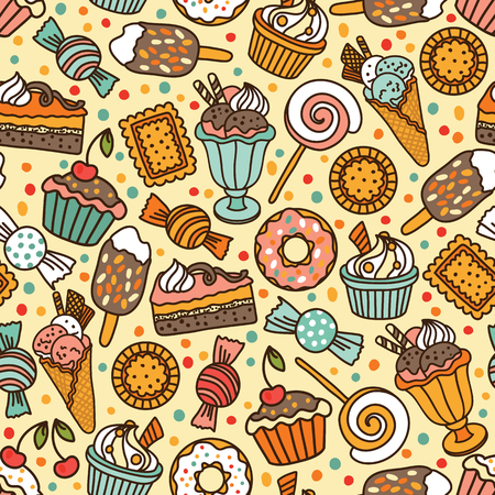 chocolate candy: Seamless pattern with candies and sweets