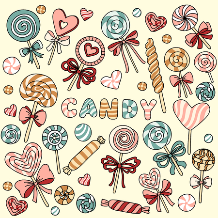 taffy: Vector set with candy and lollipops Illustration