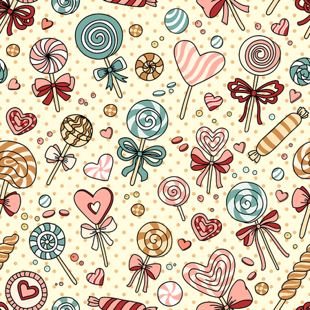 taffy: Vector seamless pattern with candy and lollipops