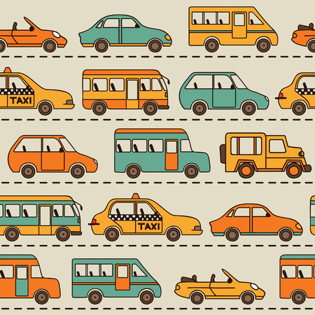wall hanging: Seamless vector pattern with cars and buses. Can be used for desktop wallpaper or frame for a wall hanging or poster,for pattern fills, surface textures, web page backgrounds, textile and more