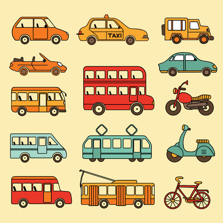 autotruck: Vector collection of cars and buses. Icon with transport