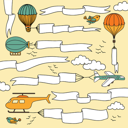 carried: Set of hand drawn banners and ribbons carried by the planes, hot air balloons and airship