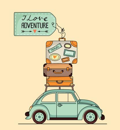 Vector illustratie. Retro auto met bagage op het dak en ruimte voor uw tekst