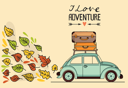 Vector illustration. Retro car with luggage on the roof and space for your text