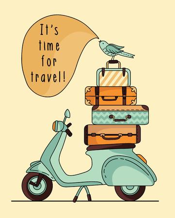 Diseño del cartel del Vespa de la vendimia. Scooter con el equipaje Foto de archivo - 54701180