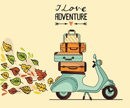 ビンテージ スクーター ポスター デザイン。荷物を持つスクーター