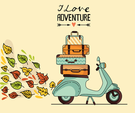 Vintage scooter poster design. Scooter with baggage