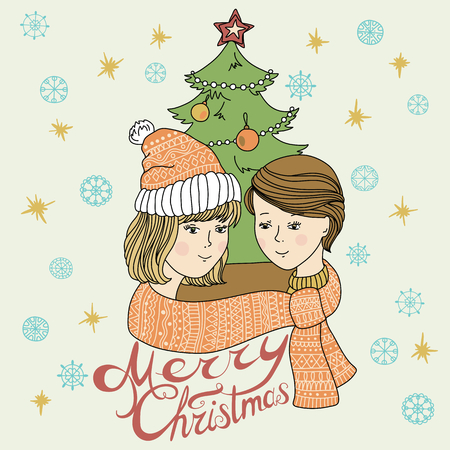 happy couple: Happy young couple in winter. Love. Christmas