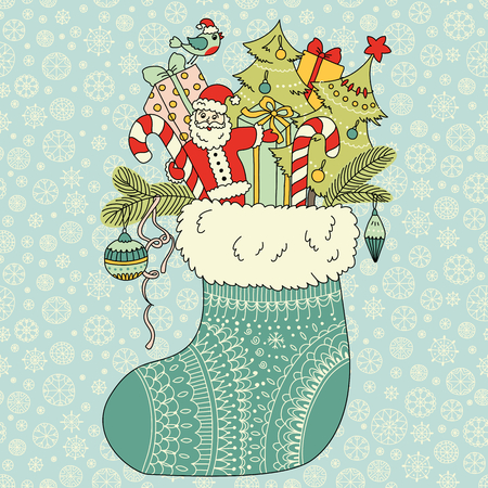 christmas gifts: Christmas gifts in sock Illustration