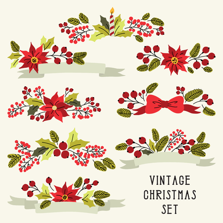 holly leaf: Vector Christmas set with vintage flowers Illustration