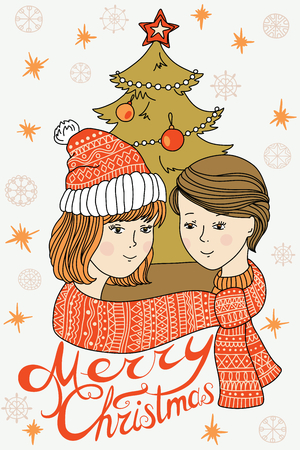 happy young couple: Happy young couple in winter. Love. Christmas