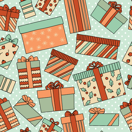 wall hanging: Vintage Christmas or Birthday seamless pattern with gift boxes. Can be used for desktop wallpaper or frame for a wall hanging or poster, surface textures, web page backgrounds and more.