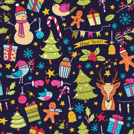 christmas backgrounds: Cartoon christmas seamless pattern with birds, trees, deer, gift boxes and other elements. Seamless pattern can be used for wallpapers, web page backgrounds. Illustration