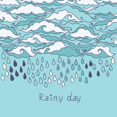 meteorology: Doodle rain background. Cartoon wallpaper Illustration