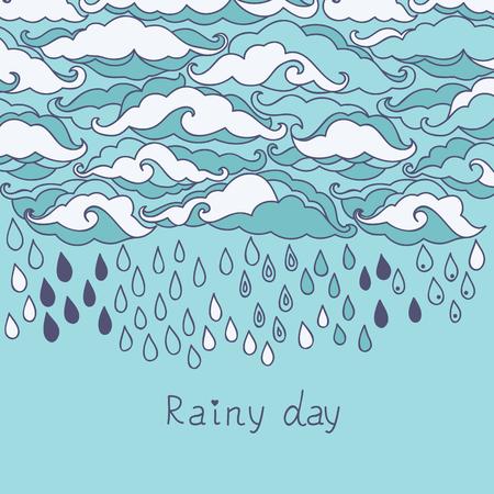 Doodle rain background. Cartoon wallpaper Illustration