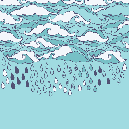 torrential rain: Doodle rain background. Cartoon wallpaper Illustration
