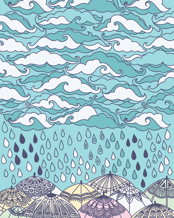 torrential rain: Vector illustration with clouds, rain and umbrellas