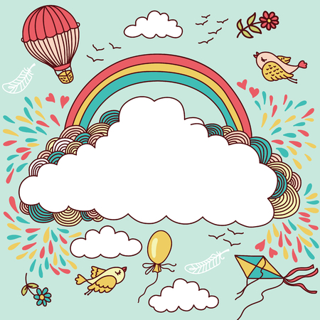Cute banner with hot air balloons, birds, clouds and rainbow. Vector illustration with place for your text