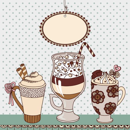 hot chocolate drink: Vector illustration with cups of coffee and place for your text Illustration