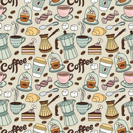 Jednolite wzór z kawą i słodkie. Kawa tle