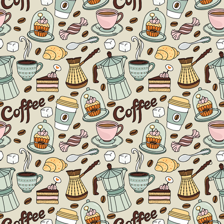 coffee maker: Seamless pattern with coffee and sweet. Coffee background