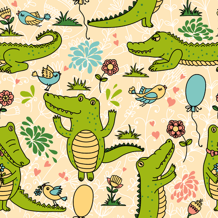 cartoon crocodile: Vector seamless pattern with funny crocodiles Illustration