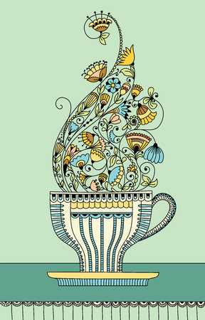 green tea leaf: Vector illustration with a cup of aromatic flower tea